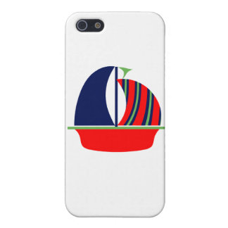 Navy Green Red Sail Boat Covers For iPhone 5
