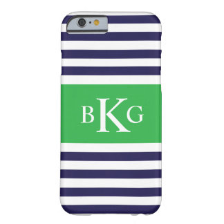 Navy Green Stripes Monogram Barely There iPhone 6 Case