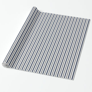 Navy Grey and White Vertical Stripes Wrapping Paper