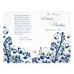 navy grey white abstract floral wedding program flyer design
