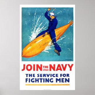 Navy Guy on Torpedo Print