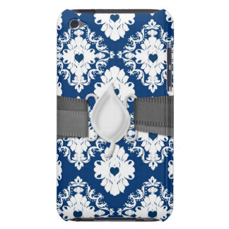 navy hearts blue white damask barely there iPod cover