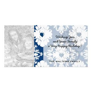 navy hearts blue white damask customised photo card