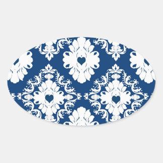 navy hearts blue white damask oval sticker