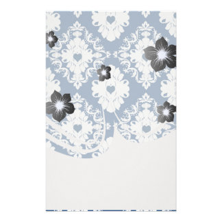 navy hearts blue white damask stationery paper
