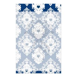 navy hearts blue white damask stationery paper