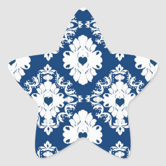 navy hearts blue white damask star sticker