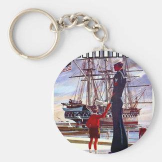 Navy Heritage Basic Round Button Key Ring