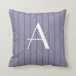 Navy Herringbone Cushion