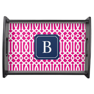 Navy & Hot Pink Monogram Trellis | Serving Tray