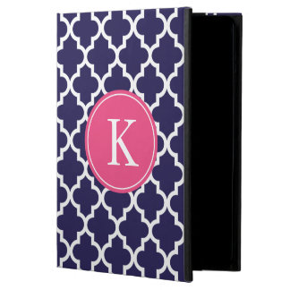 Navy Hot Pink Moroccan Pattern Monogram Case For iPad Air