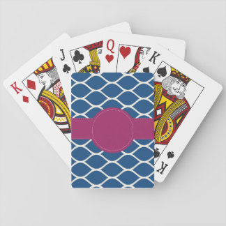 Navy Hot Pink Personalized Playing Cards