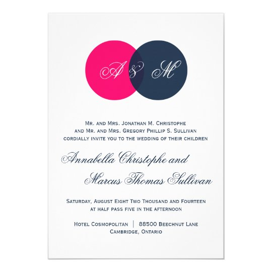 Navy & Hot Pink Twin Monograms Wedding Invitation