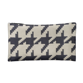 Navy Houndstooth Cosmetic Bag