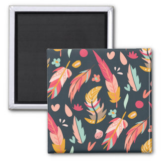 Navy Illustrated Feathers Pattern Square Magnet