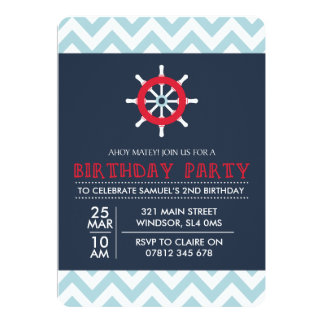 Navy Invitation Nautical Blue and Red Birthday