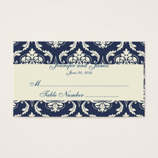 Navy Ivory Damask Wedding Table Place Card