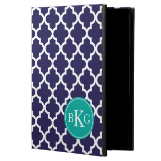 Navy Jade Green Quatrefoil Custom Monogram iPad Air Case