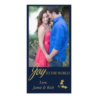 Navy Joy to the World Holiday Photo Card
