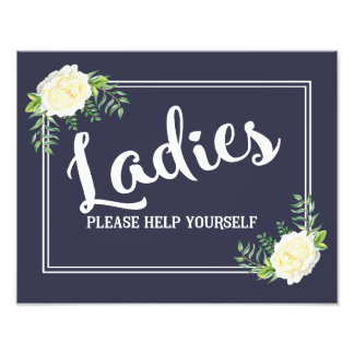 navy Ladies please help yourself wedding party Photographic Print