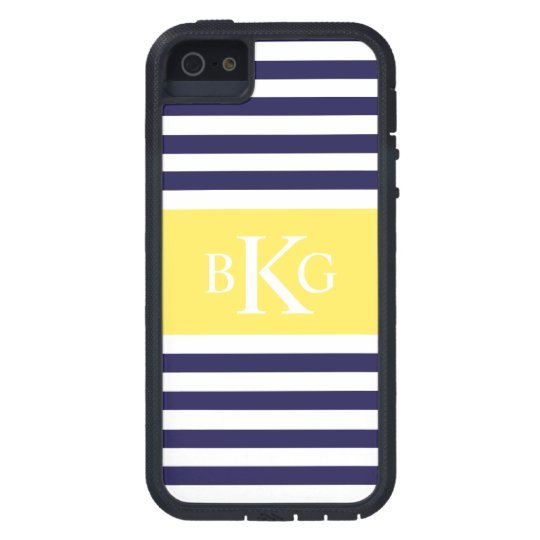 Navy Lemon Yellow Stripes Monogram Case For The iPhone 5