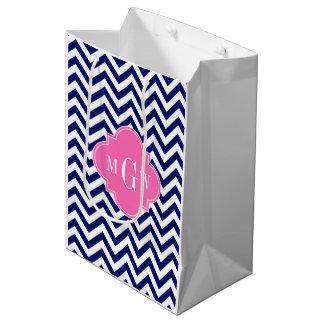 Navy Lg Chevron Hot Pink #2 Quatrefoil 3 Monogram Medium Gift Bag