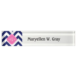 Navy Lg Chevron Hot Pink #2 Quatrefoil 3 Monogram Name Plate