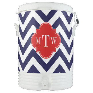 Navy Lg Chevron Red Quatrefoil 3 Monogram Cooler