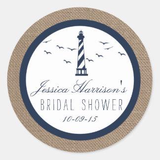Navy Lighthouse On Burlap Nautical Bridal Shower Classic Round Sticker