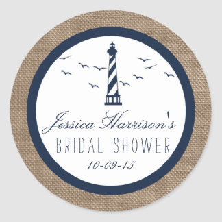 Navy Lighthouse On Burlap Nautical Bridal Shower Round Sticker