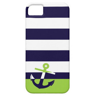 Navy/Lime Green Anchor Case For The iPhone 5
