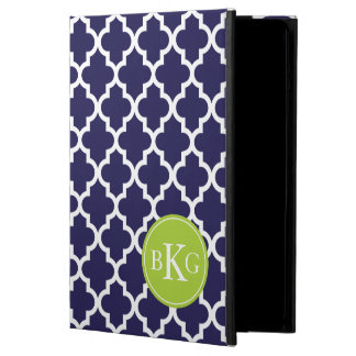 Navy Lime Green Quatrefoil Custom Monogram Cover For iPad Air