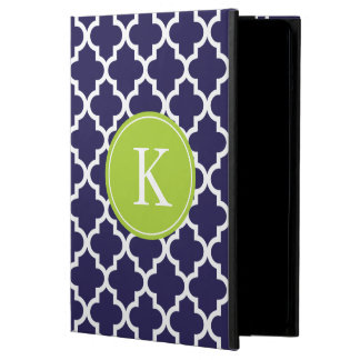Navy Lime Moroccan Pattern Monogram Case For iPad Air