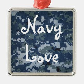 Navy Love Silver-Colored Square Decoration