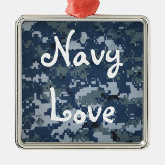 Navy Love Silver-Colored Square Decoration