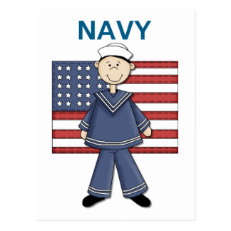 Navy Male Customizable Postcard