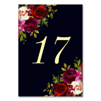 Navy Marsala Boho Floral Wedding Table Number