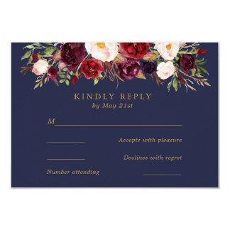 Navy Marsala Flowers Wedding RSVP Card