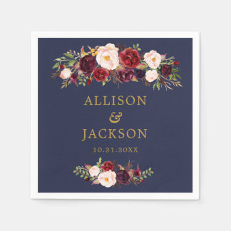 Navy Marsala Gold Flowers Monogram Wedding Napkin Paper Serviettes