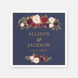 Navy Marsala Gold Flowers Monogram Wedding Napkin Paper Serviettes