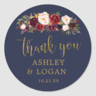 Navy Marsala Gold Flowers Thank You Favour Sticker