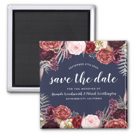 Navy Marsala Peony Wedding Save the Date Magnets