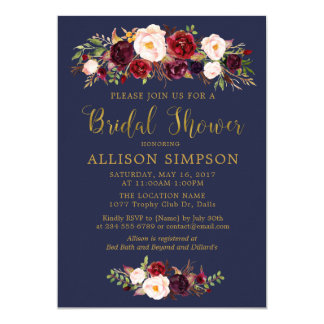 Navy Marsala Red Autumn BridalShower Invitations