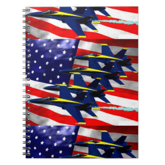 NAVY MILITARY JETS USA FLAG SPIRAL NOTEBOOK