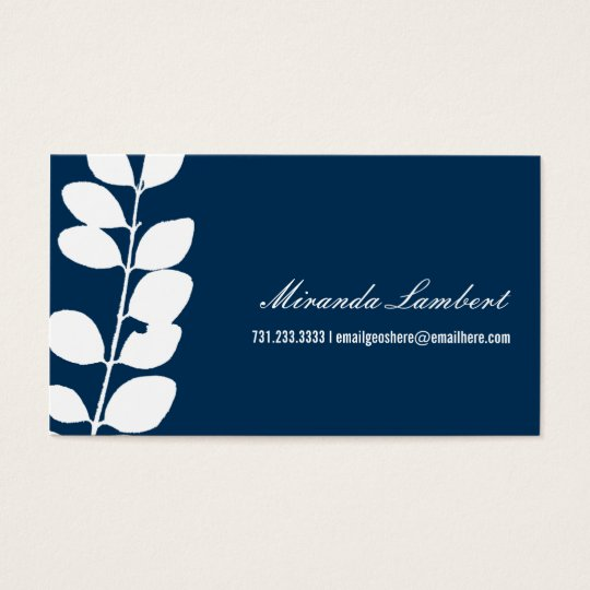 Navy Modern Foliage Calling Cards