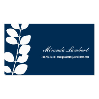 Navy Modern Foliage Calling Cards Business Card