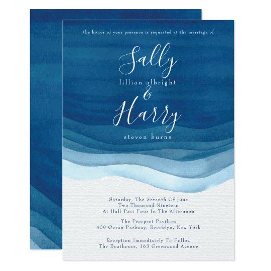 Navy, Modern Watercolor Waves Wedding Invitation