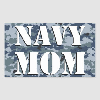 Navy Mom Camouflage Rectangle Rectangular Stickers