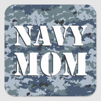 Navy Mom Camouflage Square Stickers