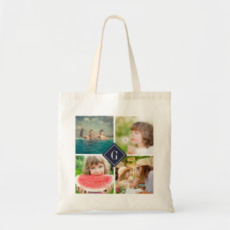 Navy Monogram Instagram Photo Collage Budget Tote Bag
